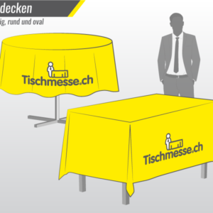 Bedruckte Tischedecken nach Mass online bestellen für Messe und Event