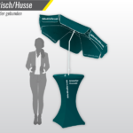 Stehtisch mit Sonnenschirm und bedruckter Husse – Tischmesse.ch wir drucken Ihre Messeprodukte