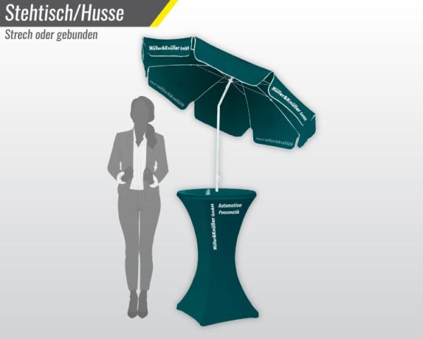 Stehtisch mit Sonnenschirm und bedruckter Husse - Tischmesse.ch wir drucken Ihre Messeprodukte